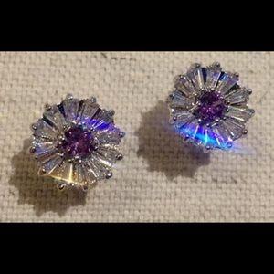NEW 💜 Purple 💜 CZ Daisy Stud Earrings, 2.96 Ct.